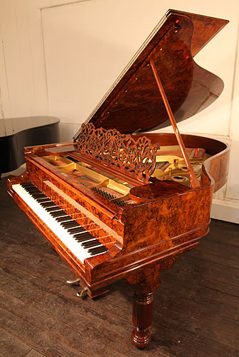 Antique, 1889, Steinway & Sons Model A Grand Piano with a Stunning Burr Walnut Case. Cabinet Features an Elegant Filigree Music Desk and Elephant Legs