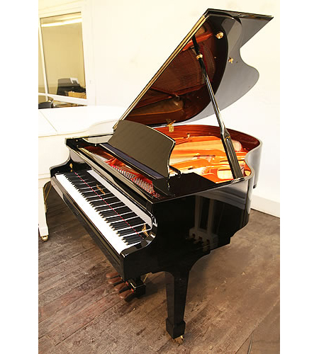 A Wendl and Lung Model 161 grand piano with a black case and polyester finish. Piano features a 4th harmonique pedal