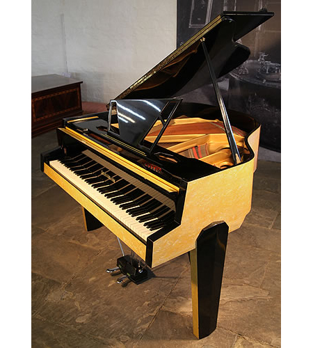 A, 1950's Zimmermann Baby Grand Piano For Sale with a Marble Effect Yellow and Black Formica Case