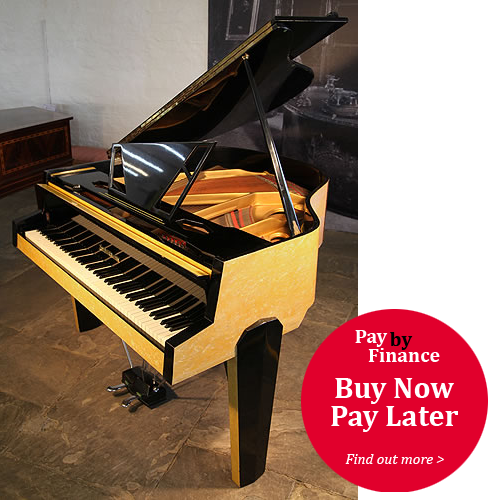 Zimmermann Baby Grand Piano For Sale with a Yellow Formica Case. Cabinet Features an Asymmetrical Music Desk, Geometric Legs and Tubular Steel Piano Lyre.