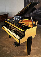 1950's Zimmermann Baby Grand Piano For Sale with a Yellow Formica Case. Cabinet Features an Asymmetrical Music Desk, Geometric Legs and Tubular Steel Piano Lyre