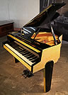 Piano for sale. 1950's Zimmermann Baby Grand Piano For Sale with a Yellow Formica Case. Cabinet Features an Asymmetrical Music Desk, Geometric Legs and Tubular Steel Piano Lyre