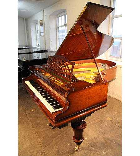 A restored, 1908, Bechstein Model B Grand Piano For Sale with a Rosewood Case, Cut Out Music Desk in a Sunset Design and Turned Legs