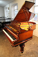 A restored, 1908, Bechstein Model B Grand Piano For Sale with a Rosewood Case, Cut Out Music Desk in a Sunset Design and Turned Legs.