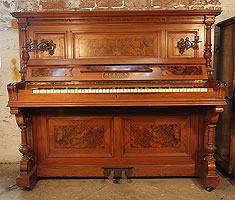 Berdux Upright Piano For Sale with a Walnut Case and Burr Walnut Panels.