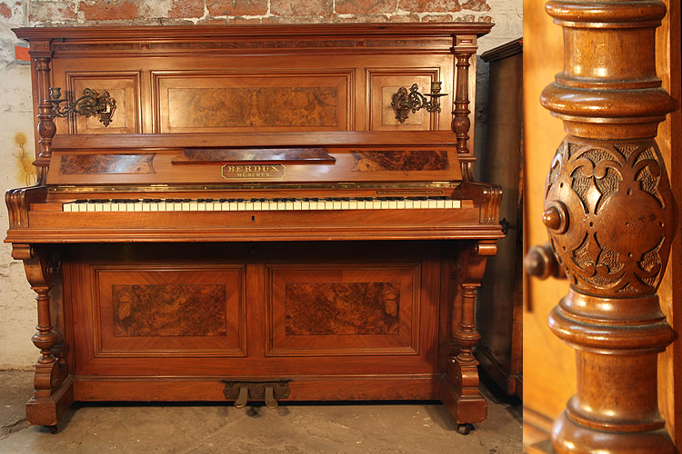 Antique, Berdux upright piano with a walnut case, carved pilasters and burr walnut panels