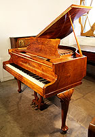 Broadwood Baby Grand  Piano For Sale with a Burr Walnut Case and Cabriole Legs