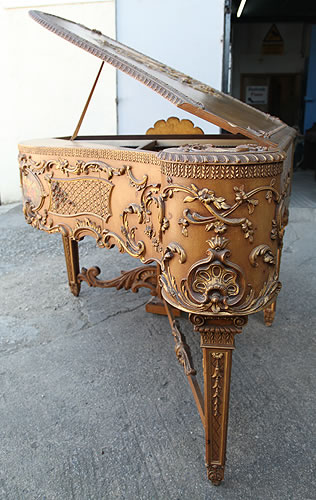 Claviano Grand Piano  with an Ornately Carved,  Rococo Style  Case