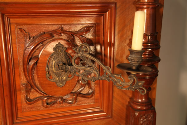 Emil Preikschat carved panel and brass candlestick