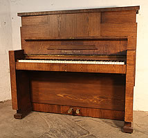 Gerhard Adams Upright Piano For Sale with a Modernist Almost Brutalist Style Oak Case.