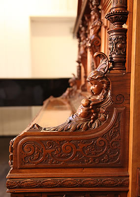 Oscar Gerbstadt  ornately carved, reclining female warrior on piano cheeks
