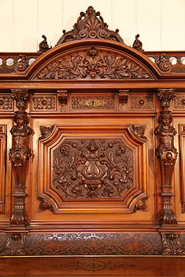 Oscar Gerbstadt piano front panel carved detail