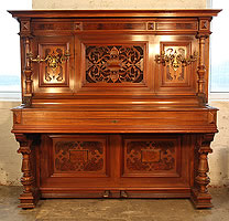 Steingraeber Upright Piano For Sale with an Ornately Carved, Classical Style Case.