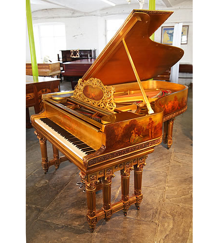 Rococo style, 1886, Steinway Model B grand piano with a gold case  featuring hand paintings  in fête galante style