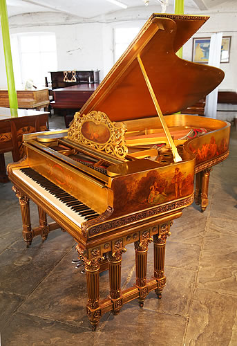 Art case, Steinway & Sons Model B Grand Piano For Sale with a Gold Case Covered in Hand Painted Cherubs