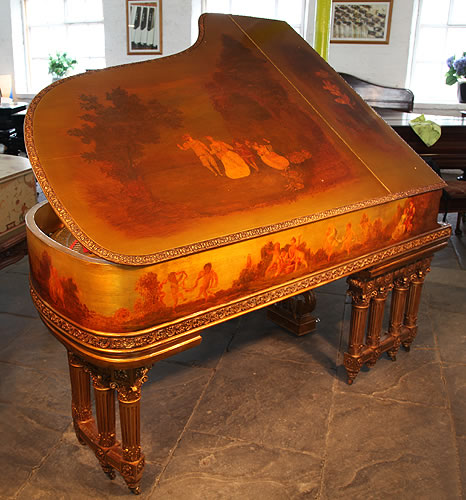 Steinway Model B piano top lid detail. Piano is hand painted around entire cabinet