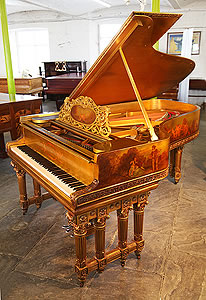 Art case, 1886, Steinway & Sons Model B Grand Piano For Sale with a Gold Case Covered in Hand Painted Cherubs and People Playing Musical Instruments