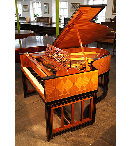 An Art cased,1914, Steinway Model O Grand Piano with a Satinwood and Ebony Case. Inlaid with a Trompe L'oeil Effect in a Geometric Design