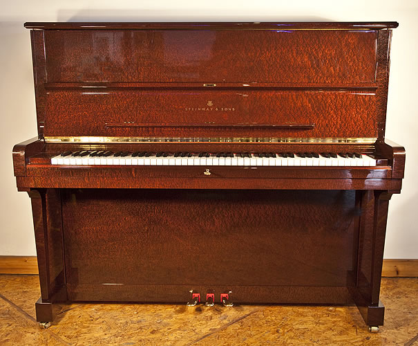 Steinway Model V upright Piano for sale with a mahogany case.