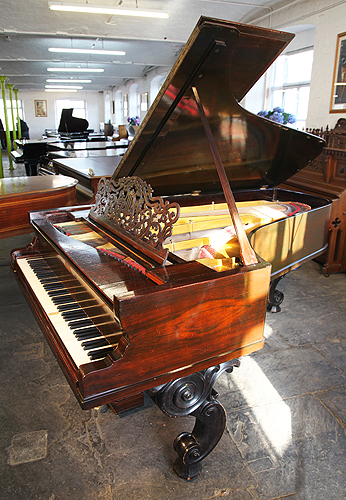Antique Steinway & Sons Style 2 Grand Piano with a Rosewood Case and Heavy Carved, Scroll Foot Legs