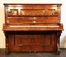 Antique, 1894, Steinweg Nachf Upright Piano For Sale with a Burr Walnut Case and Inlaid Panel