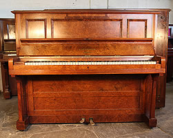 Antique, Bechstein Upright Piano For Sale with a Burr Walnut Case