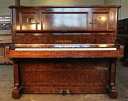 Antique, Bechstein upright piano with a burr walnut case and brass candlesticks