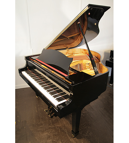 A brand new, Besbrode Model 166 Professional grand piano with a black case and polyester finish. Piano features a PianoDisc iQ player piano system