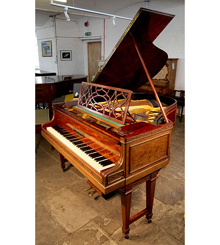 A 1910, Bluthner Grand Piano For Sale with a Chippendale Style Case. Cabinet Features Flame Mahogany Panels, Gate Legs and Elegant, Filigree Music Desk