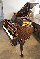 A 1948, Queen Anne Style, Challen Baby Grand Piano For Sale with a Mahogany Case and Cabriole Legs