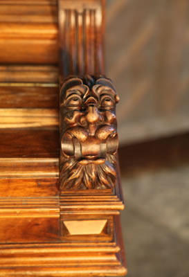 Ehret  ornately carved head on piano cheeks