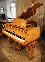 Art deco style, 1935, Monington and Weston Baby Grand Piano For Sale with a Satinwood and Rosewood Case