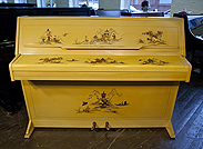 Piano for sale. A Monington and Weston upright piano with a green case, covered in Chinese painting.