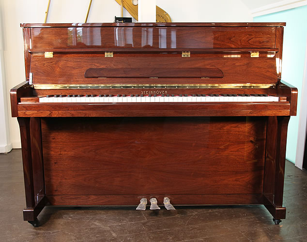 Piano for sale. A brand new Steinhoven Model UP113 upright piano with a mahogany case.