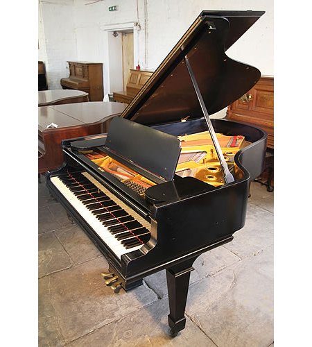 A 1901, Steinway Model A grand piano with a satin, black case and spade legs