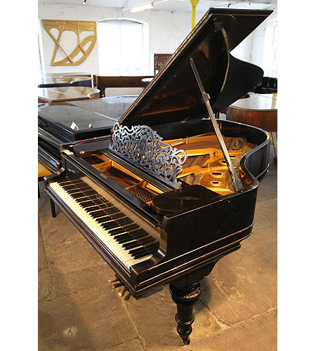 A 1905, Steinway Model O grand piano with an ebonised case and carved, turned legs  </p>