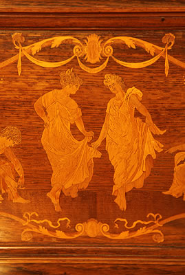 Steinway inlaid panel detail of dancing ladies