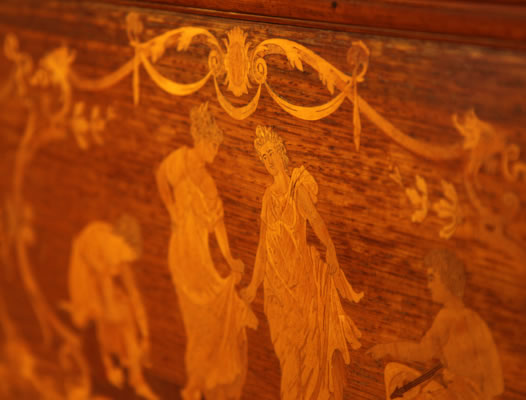 Steinway inlaid dancing ladies detail