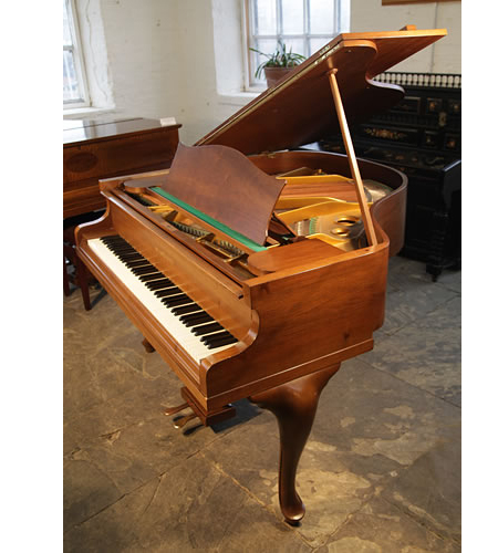 A 1902, Bechstein Model S grand piano with a satin, walnut case and cabriole legs