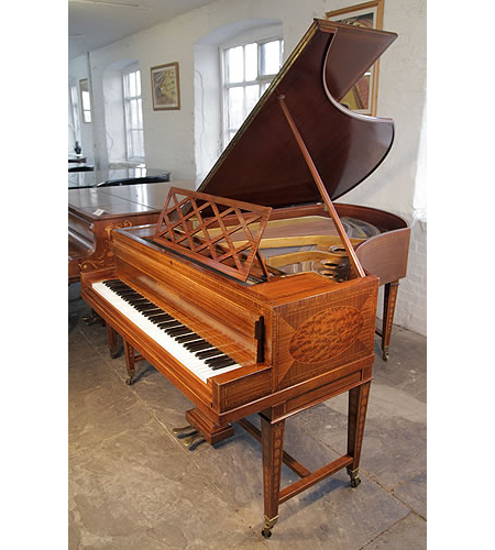 A Sheraton style, Bechstein Model V grand piano with a mahogany case and gate legs. Cabinet features walnut, satinwood and boxwood inlay