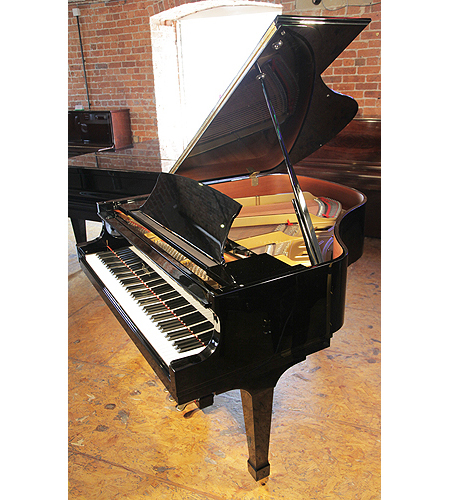A pre-owned, 2006, Boston GP156 baby grand piano with a black case and polyester finish