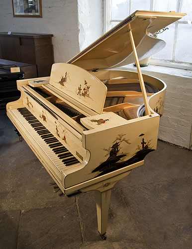 Piano for sale. A D'Almaine grand piano with a cream case, covered with Japanese paintings. Piano comes with a matching duet stool