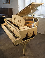 A D'Almaine grand piano with a cream case, covered with Japanese paintings. Piano comes with a matching duet stool.
