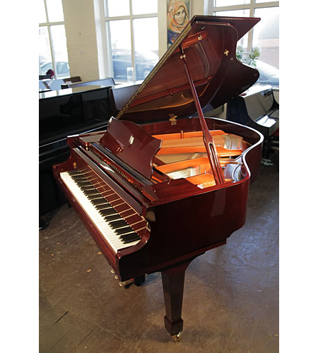 An ex-display, Halle and Voight WG160 baby grand piano for sale with a mahogany case and fitted Baldwin Concertmaster II system.The Baldwin Concertmaster II player piano system is a MIDI equipped music playbackand record system (with record option) for acoustic pianos