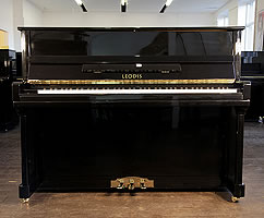 Leodis 115 upright piano with a black case
