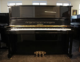 Leodis 126 upright piano with a black case