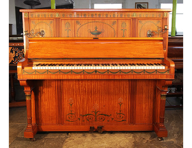 Otto upright piano with a satinwood case, beautifully hand-painted in a romanesque design with anthemions, cabuchons, swags and urns