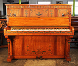Piano for sale. An art cased Otto upright piano beautifully hand-painted in Adams style with swags and urns.