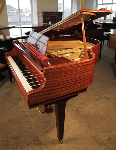 A Reid-Sohn SG140A Baby Grand Piano with a Mahogany Case and Square, Tapered Legs