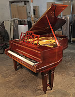 A 1905, Bluthner Model 6 Grand Piano For Sale with a Mahogany Case and Gate Legs. Piano Features a Music Desk Reminiscent of Gothic Chippendale Styling